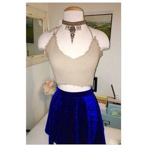 Electric Blue Crushed Velvet Skater Skirt